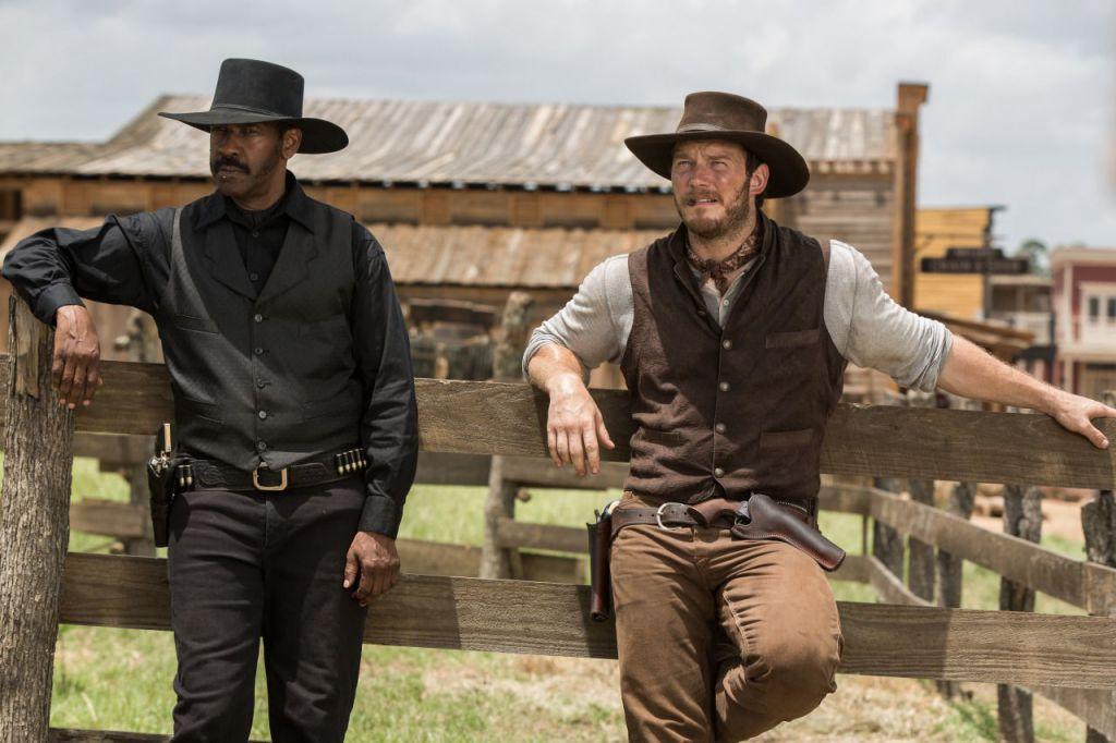 Chris Pratt and Denzel Washington in The Magnificent Seven