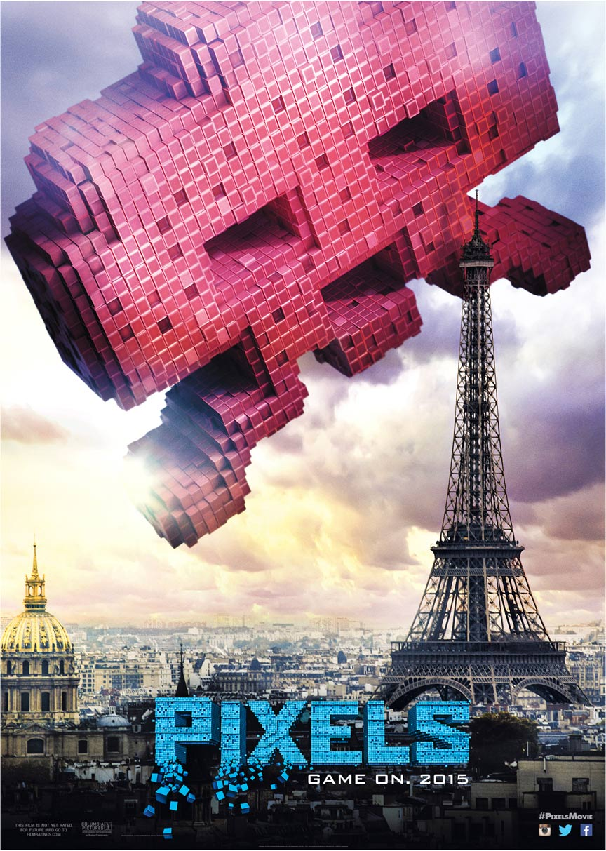 โปสเตอร์แรก Pixels (2015) หนังวีดีโอเกมส์บุกเมือง!