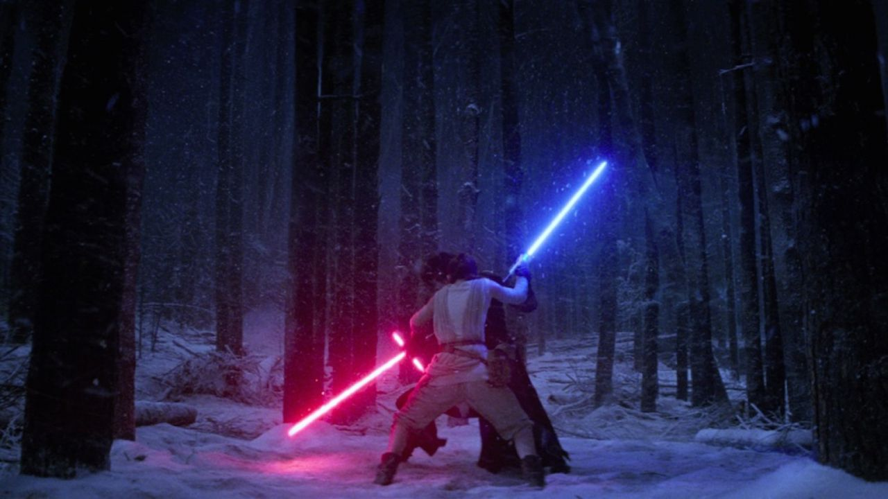 Kylo Ren and Rey Battle