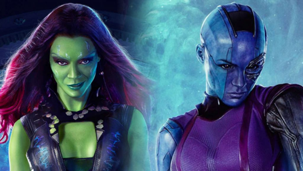 Gamora and Nebula in Guardians of the Galaxy Vol 2