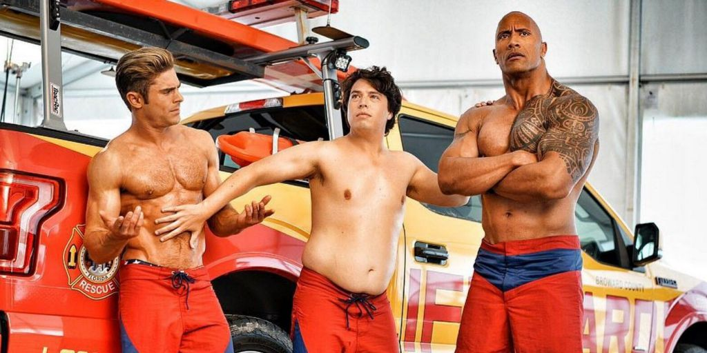 Zac Efron and Dwayne Johnson on Baywatch