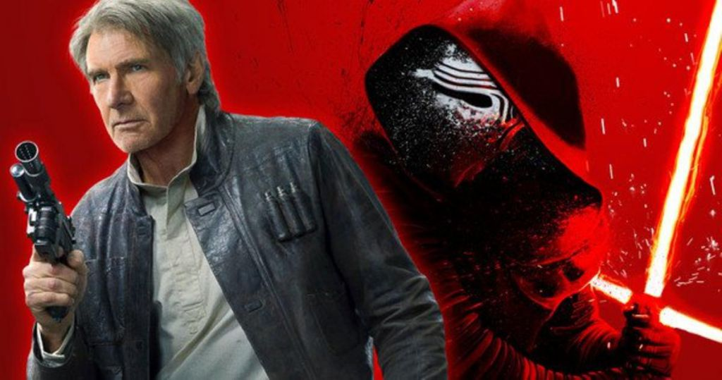 Kylo Ren and Han Solo in Star Wars the Force Awakens