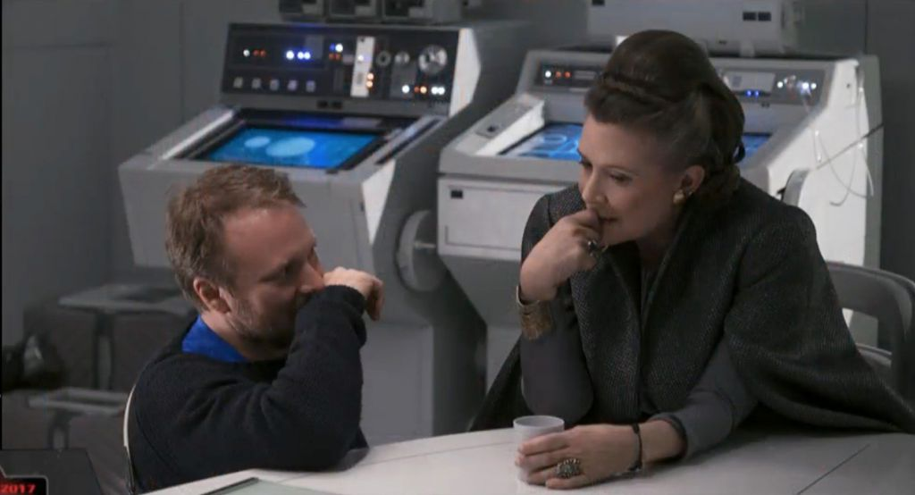 Rian Johnson and Carrie Fisher on Last Jedi Set