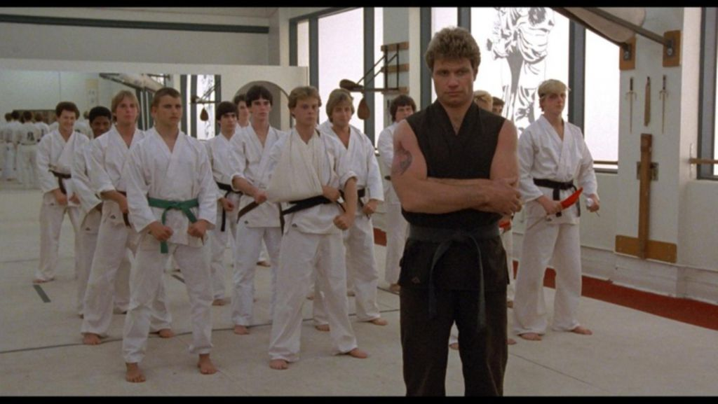 Cobra Kai scene in Karate Kid