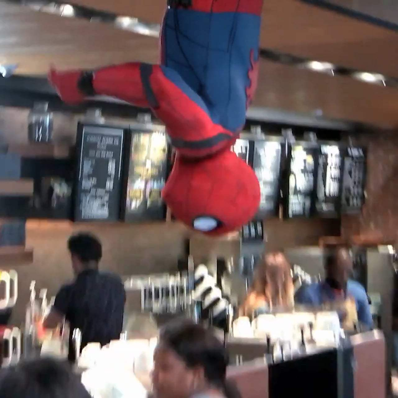 Spider-Man: Homecoming Viral - New York City Starbucks (2017) Screen Capture #1