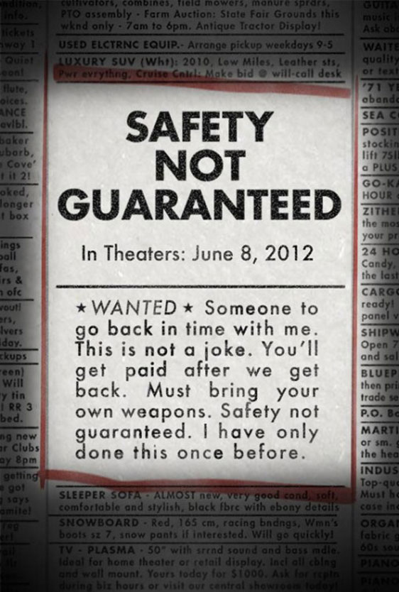 Safety Not Guaranteed Poster #1